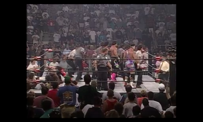 This is the moment the WCW World tag team championship changes hands. THIS!